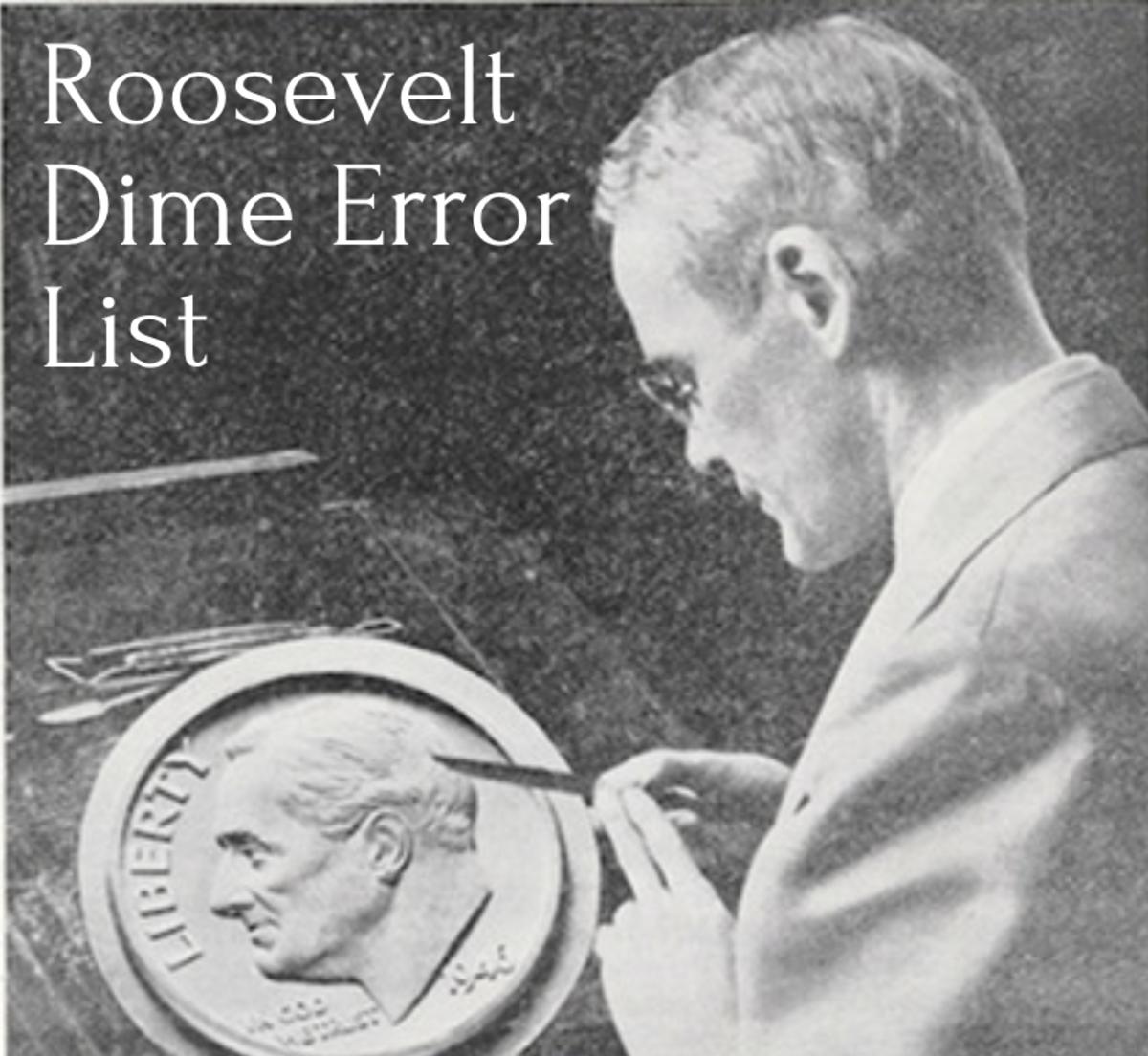 John R. Sinnock at work on plaster model of Roosevelt dime.