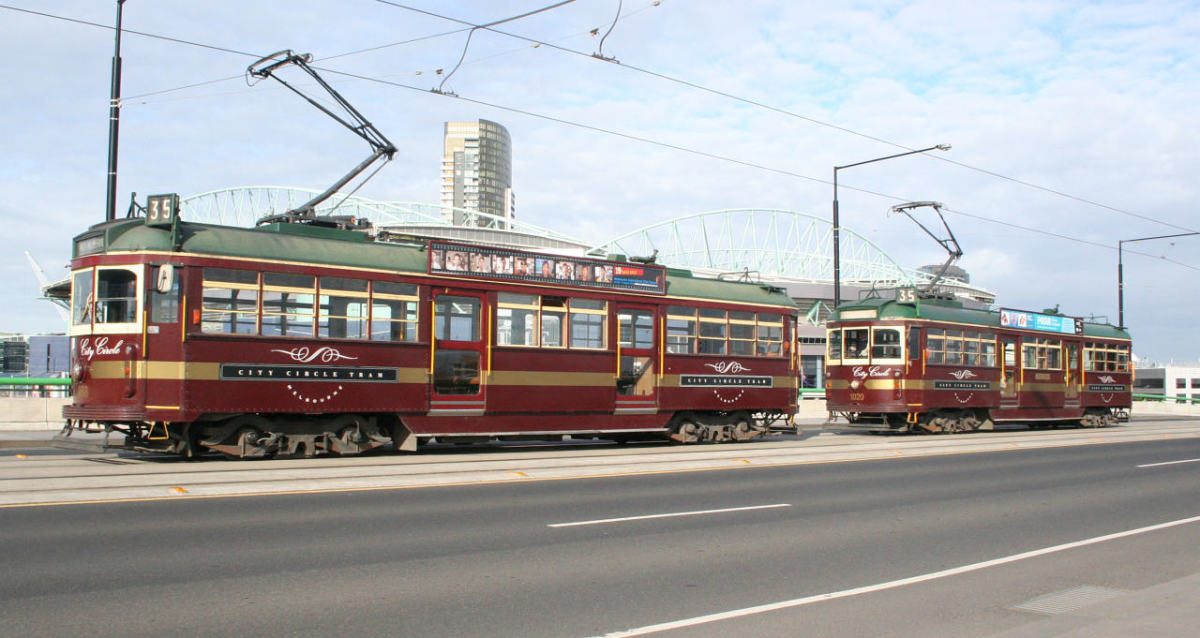 A City Circle tram on La Trobe Street in Melbourne.