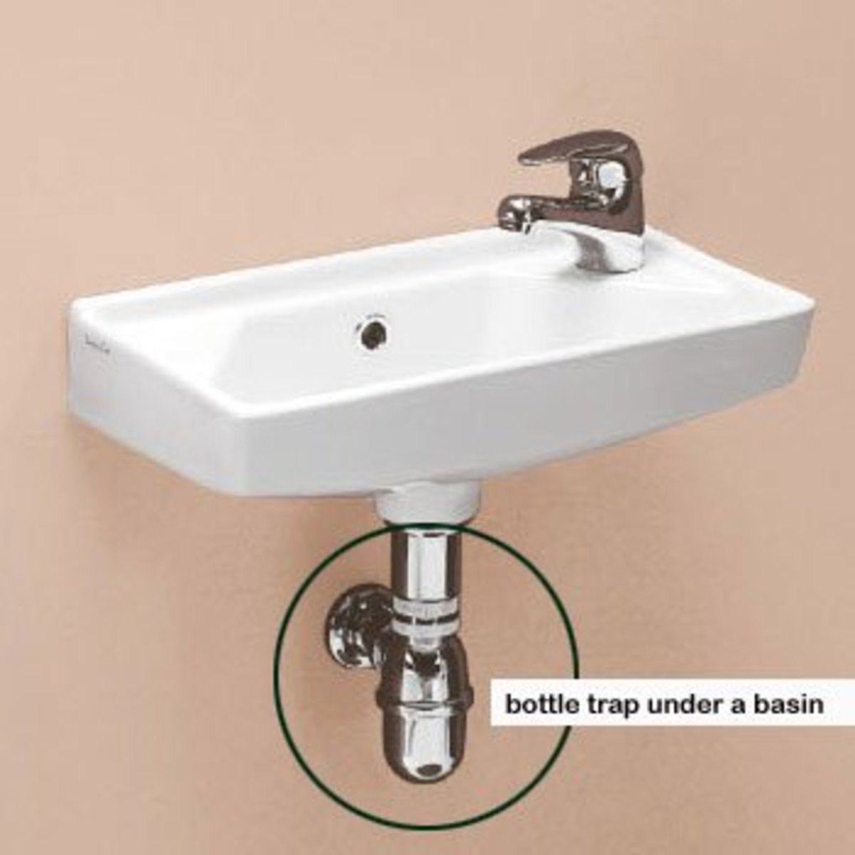 A bottle trap fitted under a wall-hung basin.
