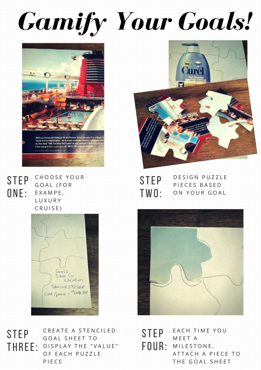 Find a picture of your goal. On the back, draw out a jigsaw puzzle and cut out your puzzle pieces. Use a sheet of paper as a template for assembling your puzzle and to set a value/milestone for each piece.