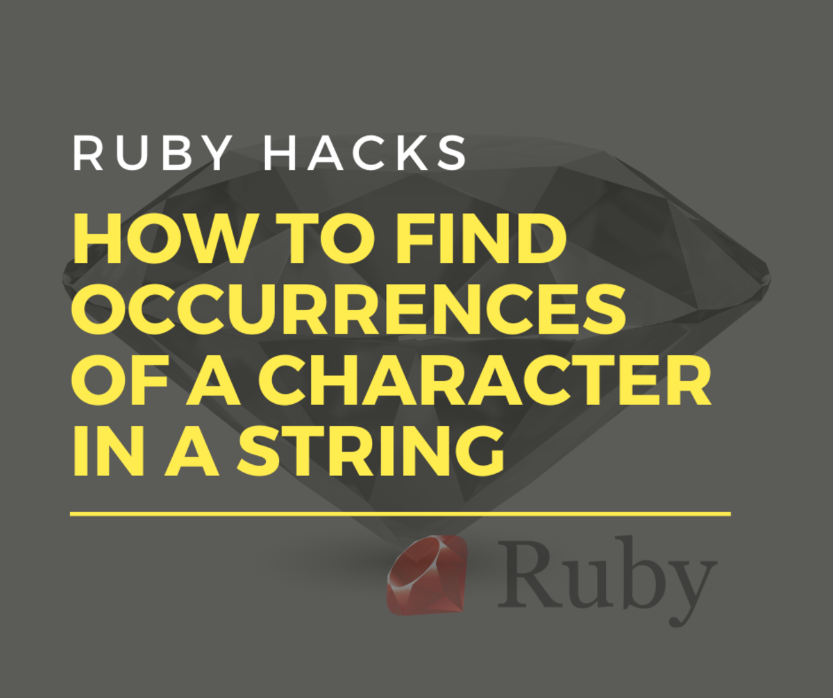 Learn three ways to find all occurrences of a character in a string of Ruby code.
