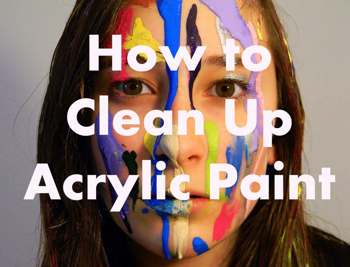 Acrylic paint dries fast, clean stains while they are still wet.