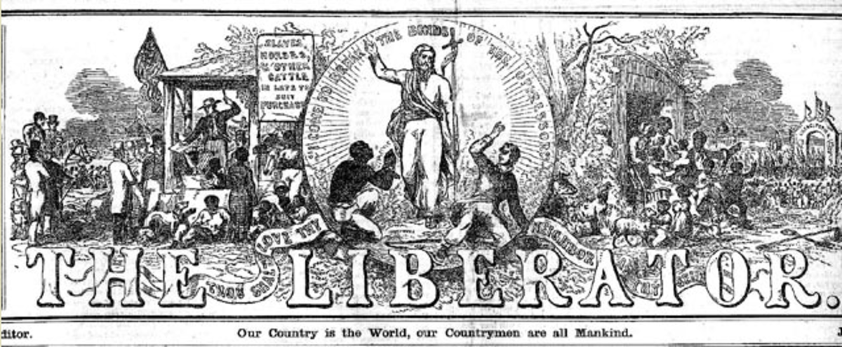 The newspaper masthead depicted suffering slaves and the deliverance of Christ.