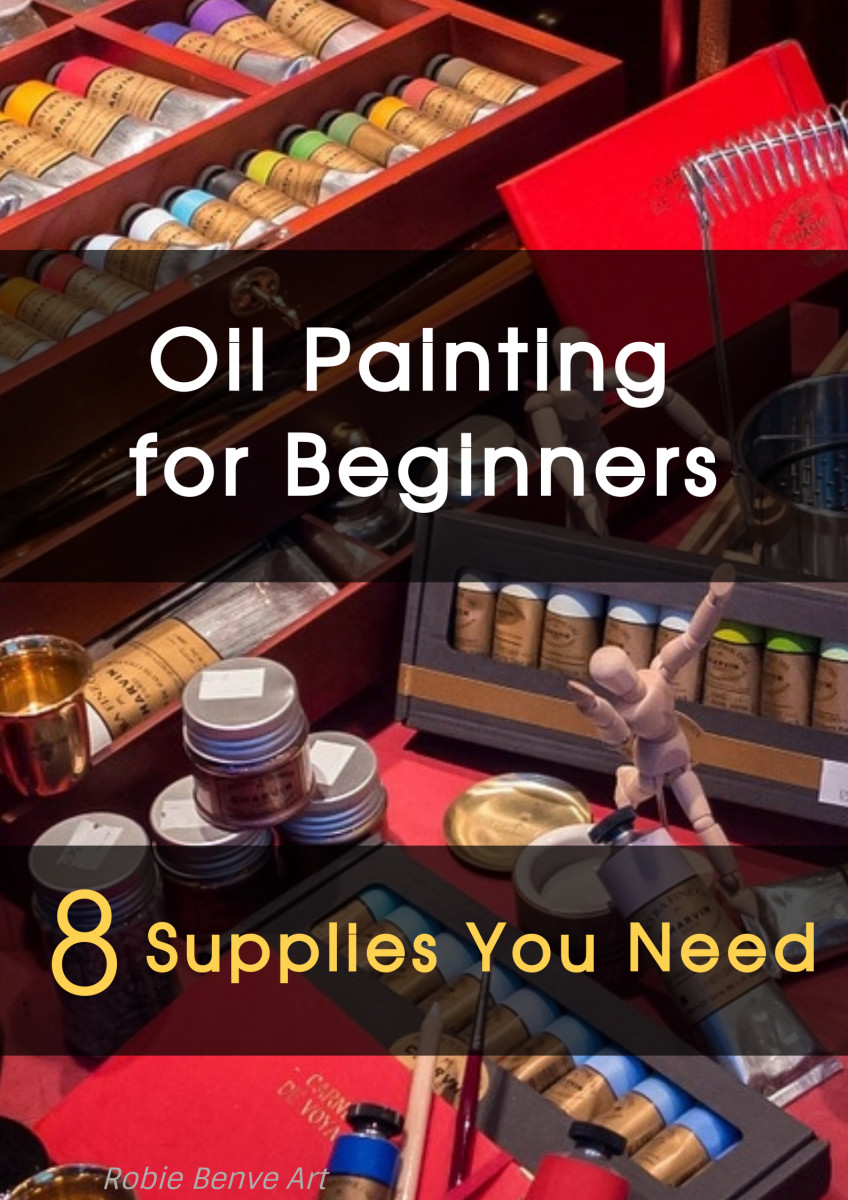 A basic oil painting supply list that can come in handy also for gift ideas for the 8 things needed to start painting with oils. Plus some tips and answers to the common questions of all beginner painters.