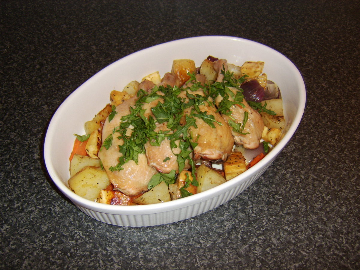 Roast Chicken Leg Portions, Parsnips and Assorted Root Vegetables (recipe included below)