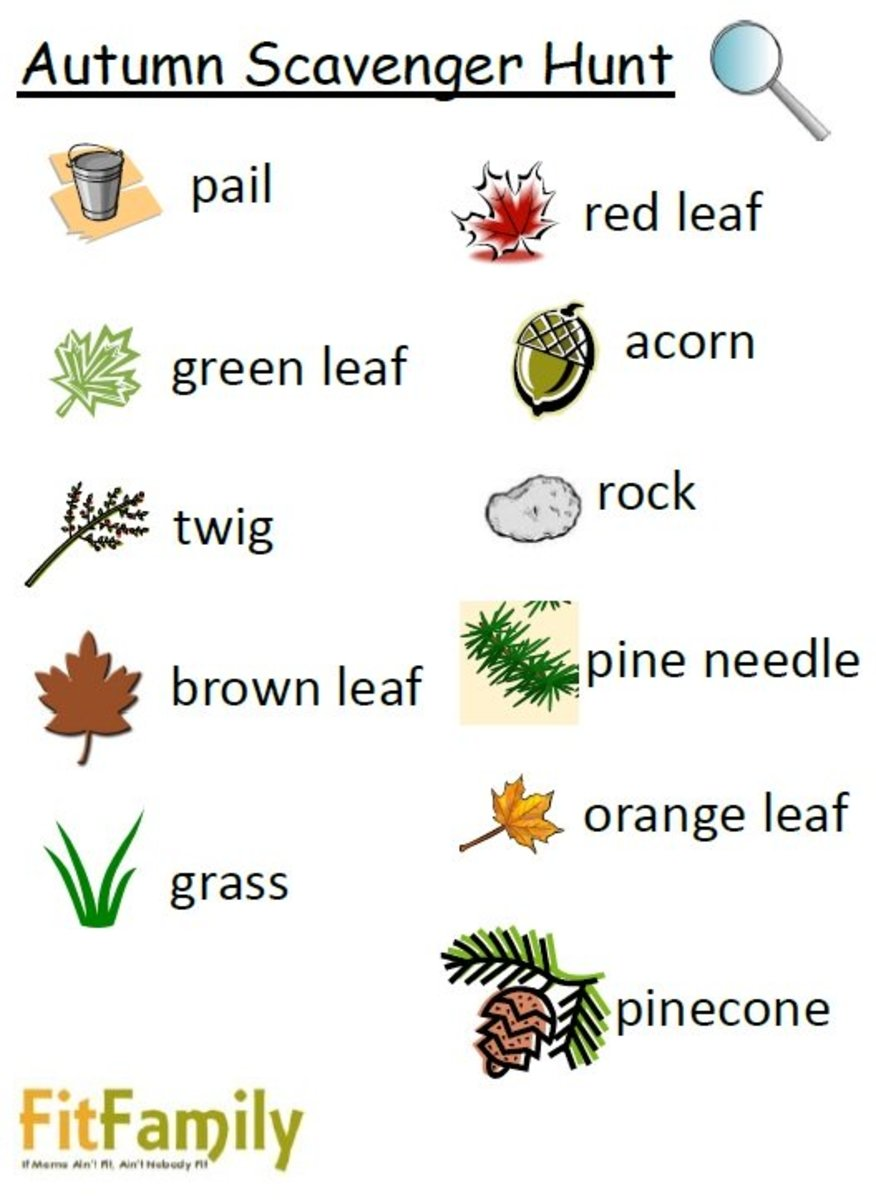 Here is an example of a Fall Scavenger Hunt list with pictures for little ones who are not yet reading.