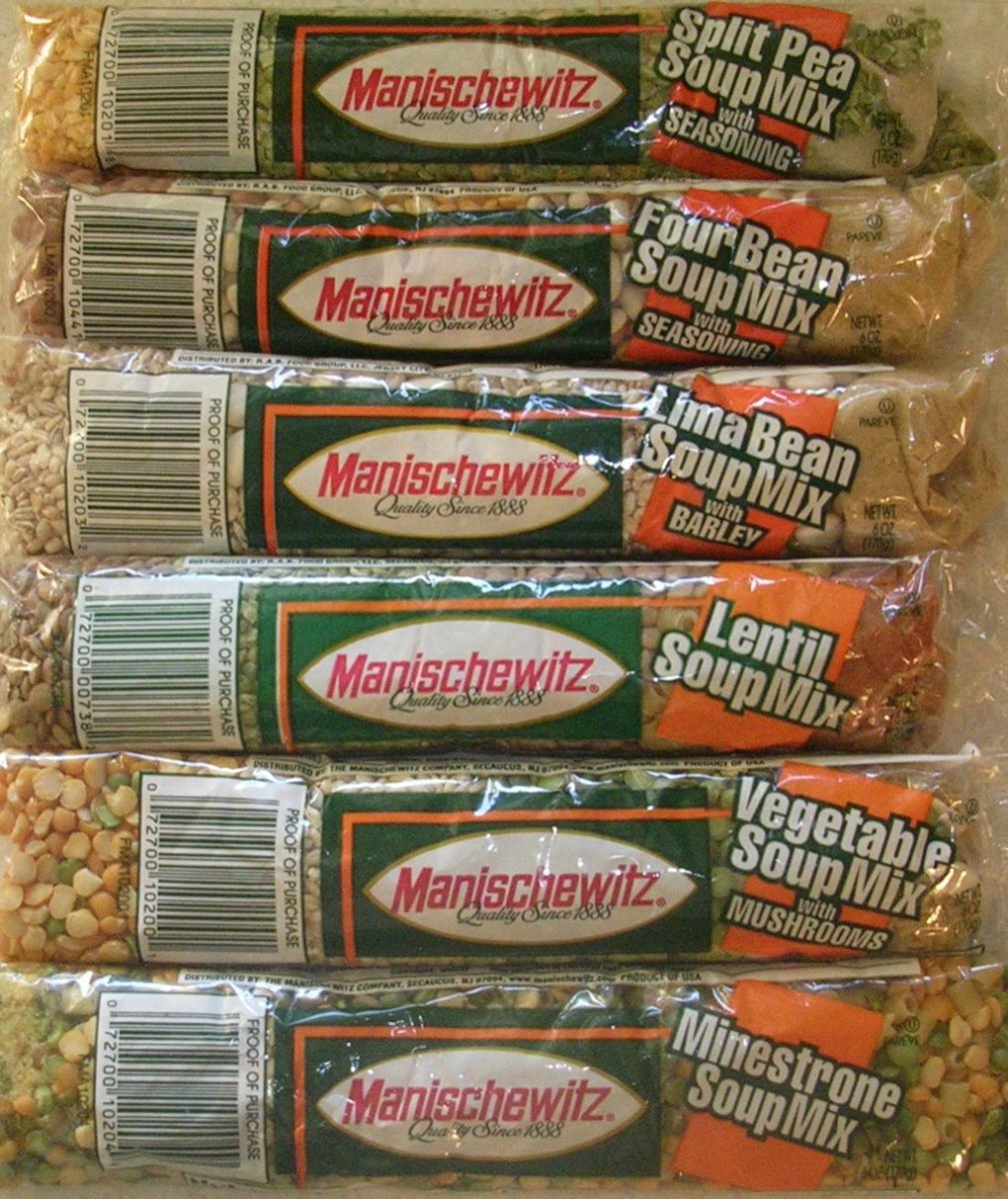 Your signature soup starters, Manischewitz cello soup mixes.