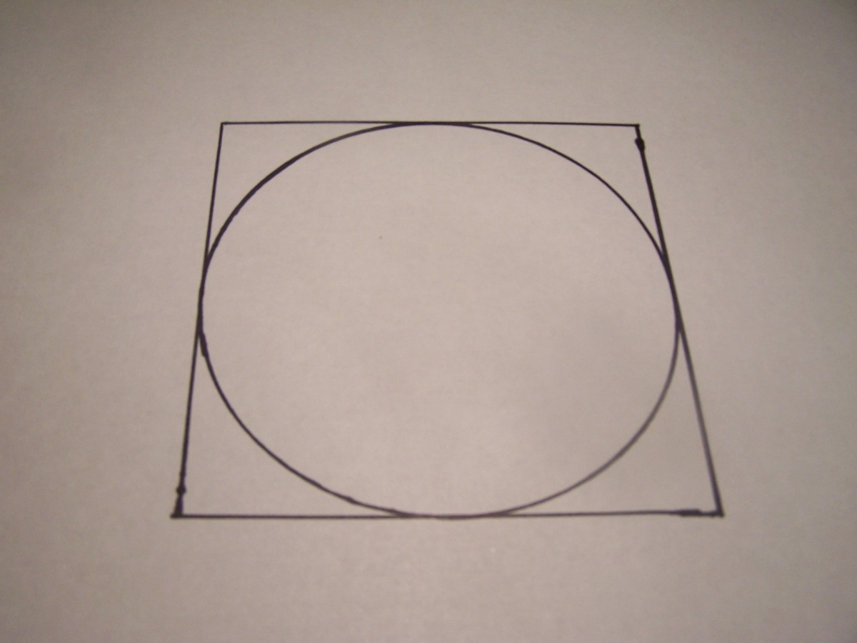 Notice the area of the circle is slightly smaller than the area of the large square in which it fits perfectly inside.