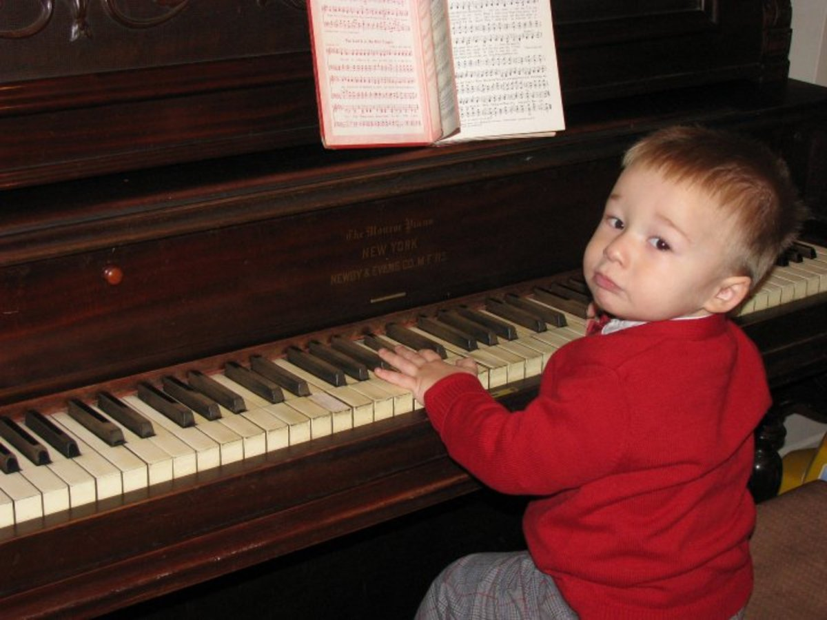 My son 'playing' Christmas music