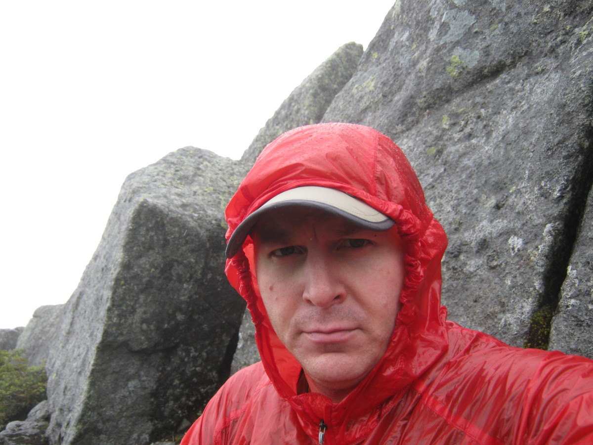 The water-resistant breathable North Face Verto jacket makes a great ultralight rain jacket.  This field test was in a June ice storm in the Adirondacks.