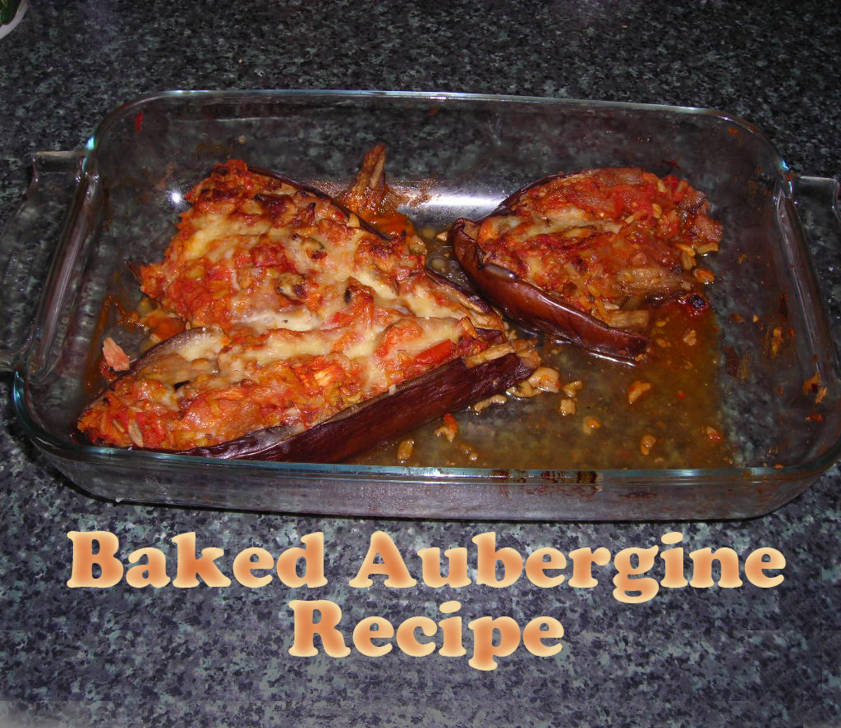 Crispy, aromatic, baked stuffed aubergine—smells divine and tastes delicious!