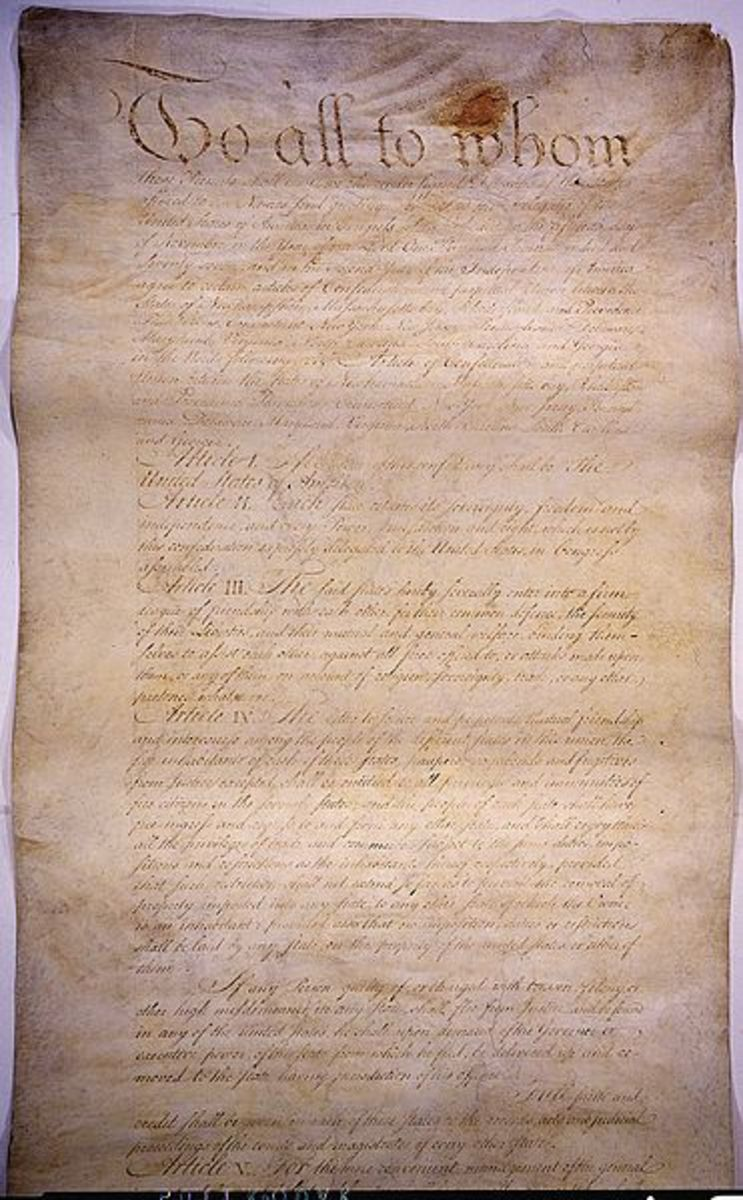 "Page one of the Articles of Confederation. The Founding Fathers found this ""constitution"" much too week and replaced it with the current Constitution."