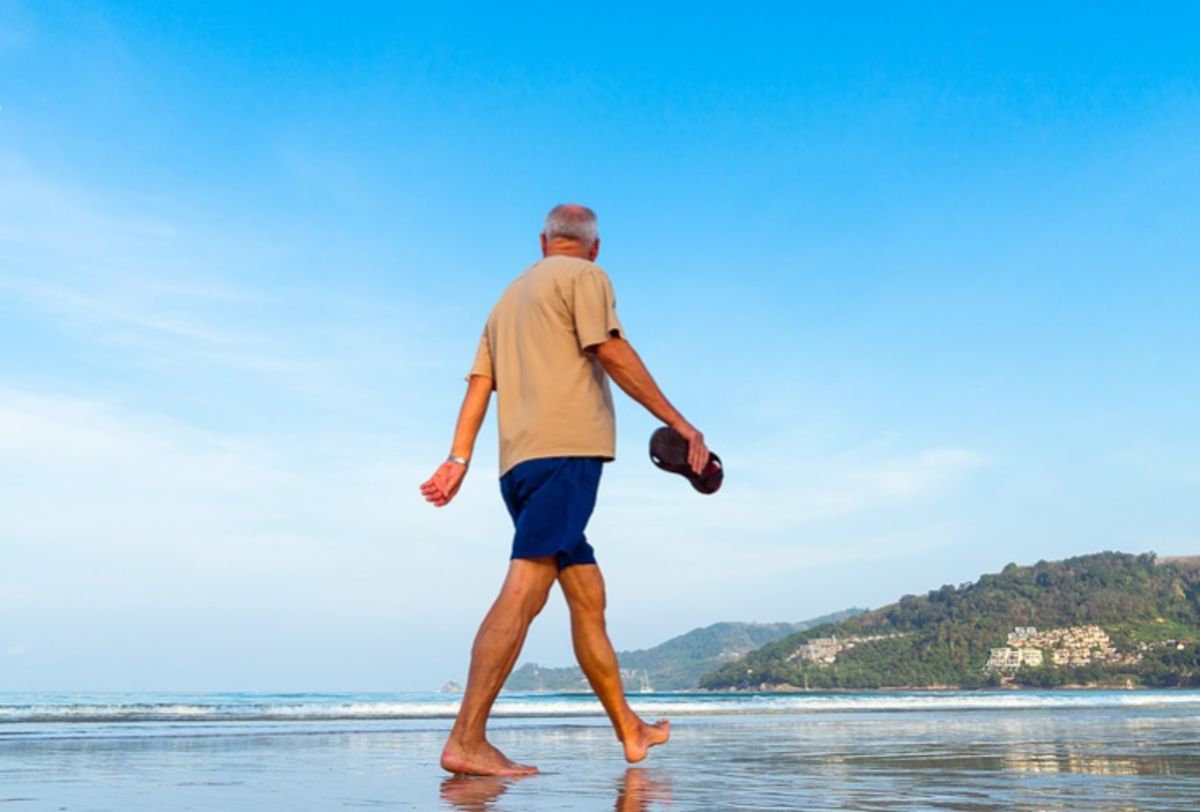 Senior Walking on the Beach: via qimono on PIxabay, Creative Commons CCO