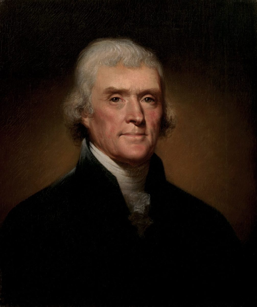 Portrait of Thomas Jefferson by Rembrandt Peale in 1800