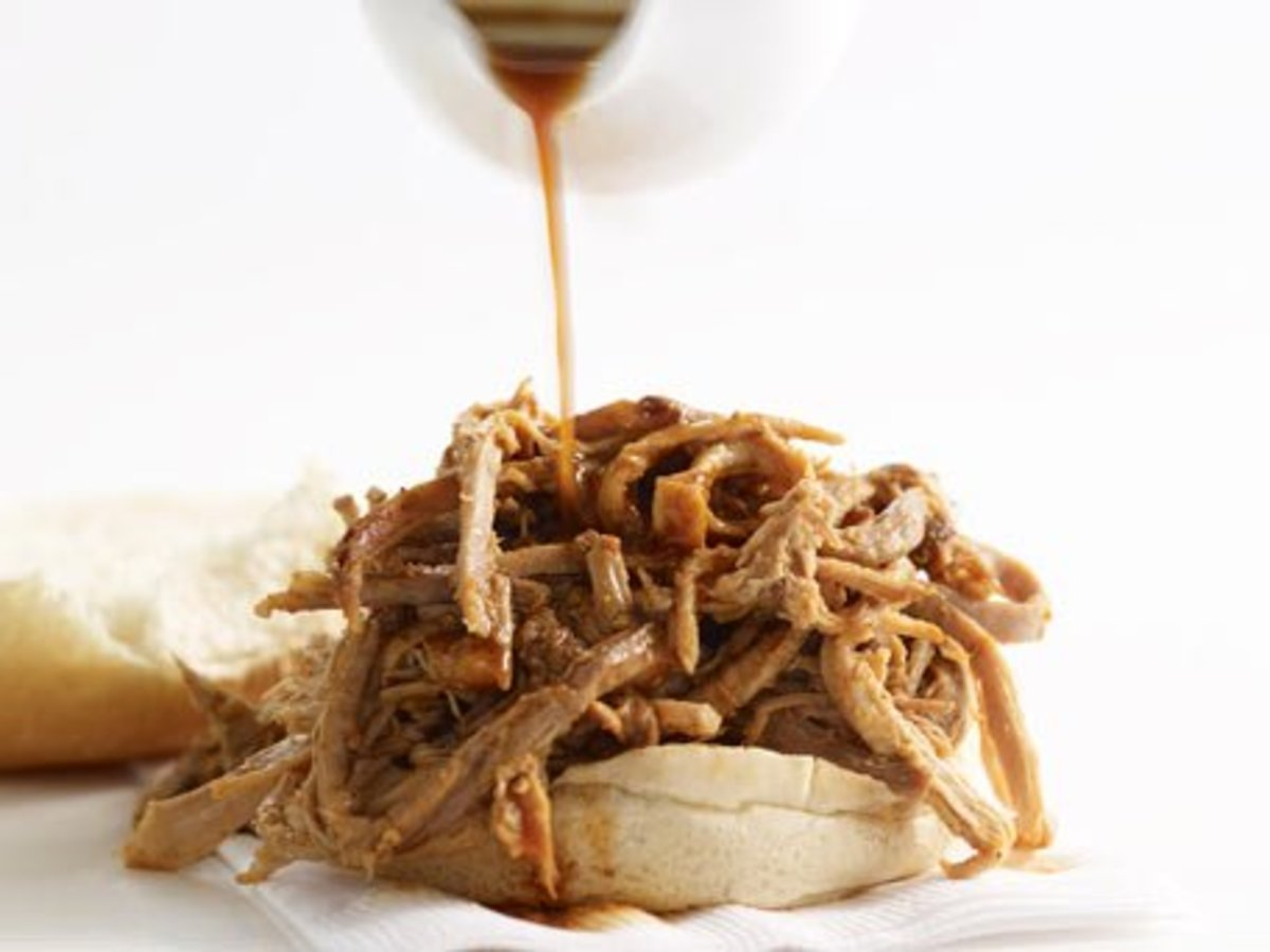 Eastern Carolina BBQ sauce on a pulled pork sandwich