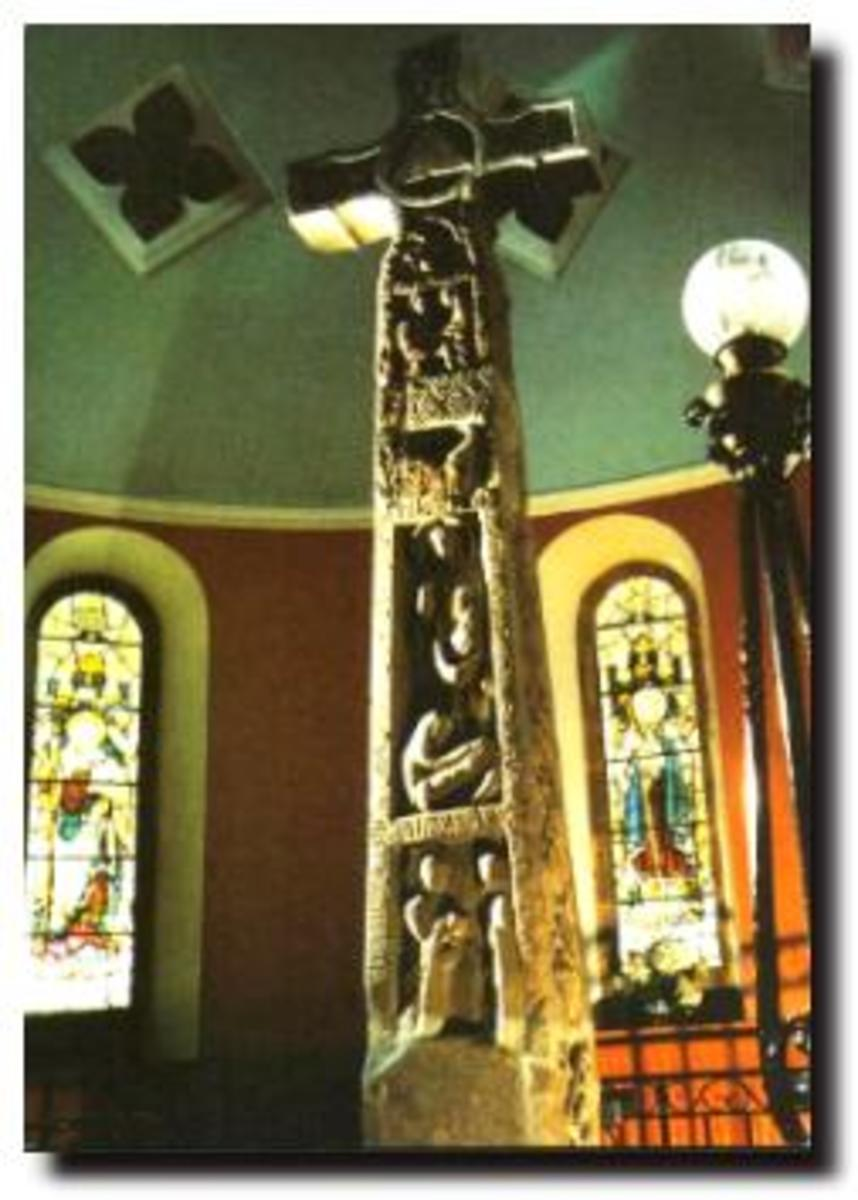 The Ruthwell Cross, near Dumfries, Scotland, is decorated with carved runes depicting aspects of the Rood's speech to the dreamer.