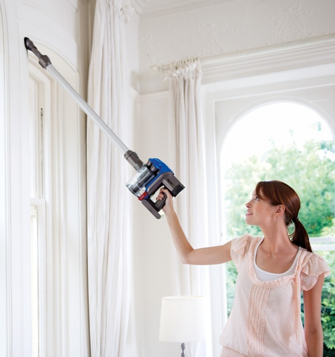 Dyson DC35 is great for removing cobwebs at ceiling height