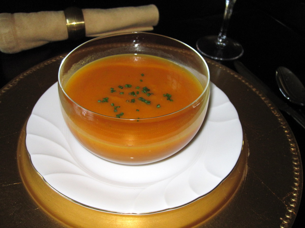This curried butternut squash soup makes a colorful first course.