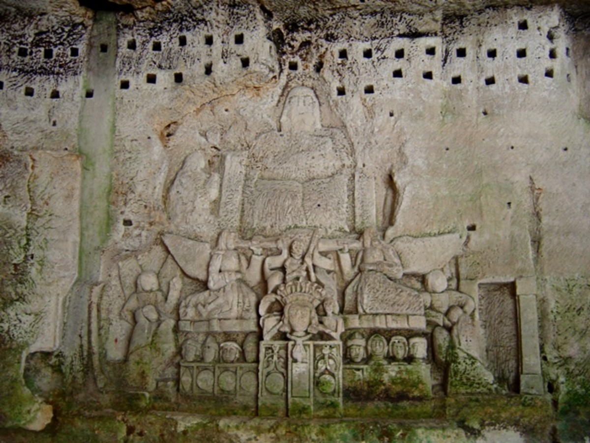 The Cave of the Last Judgment:    Enigmatic carvings in bas-relief from the 15th century