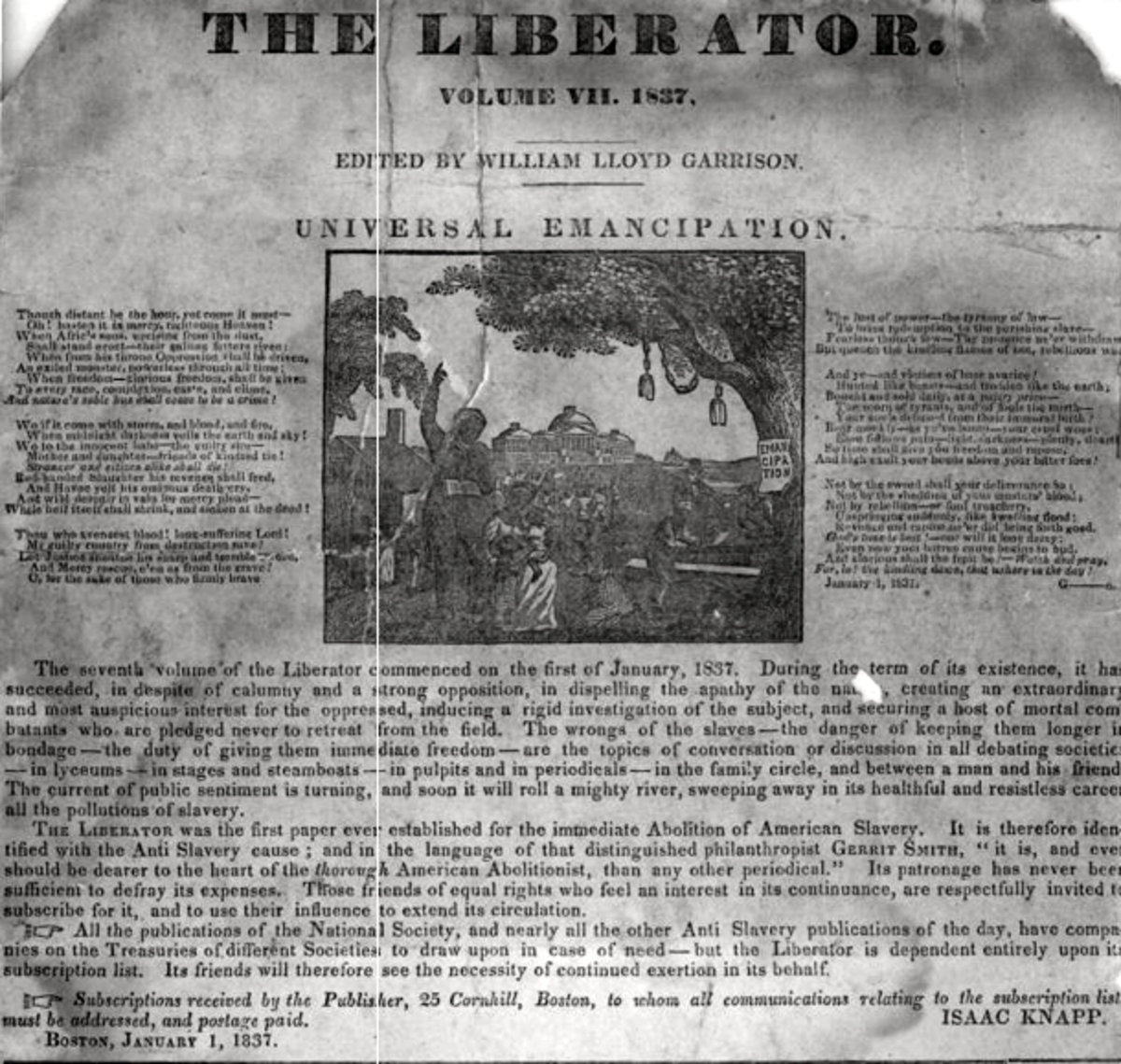The Liberator abolitionist newspaper.  Summarize when you want to convey the main point of a large amount of text.