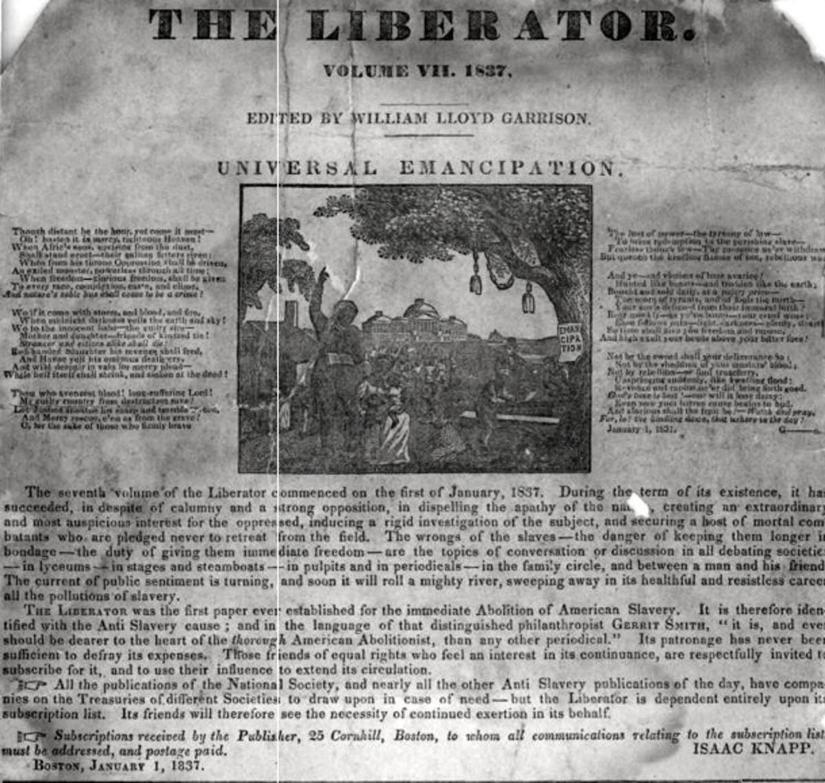 The Liberator Newspaper by William Lloyd Garrison