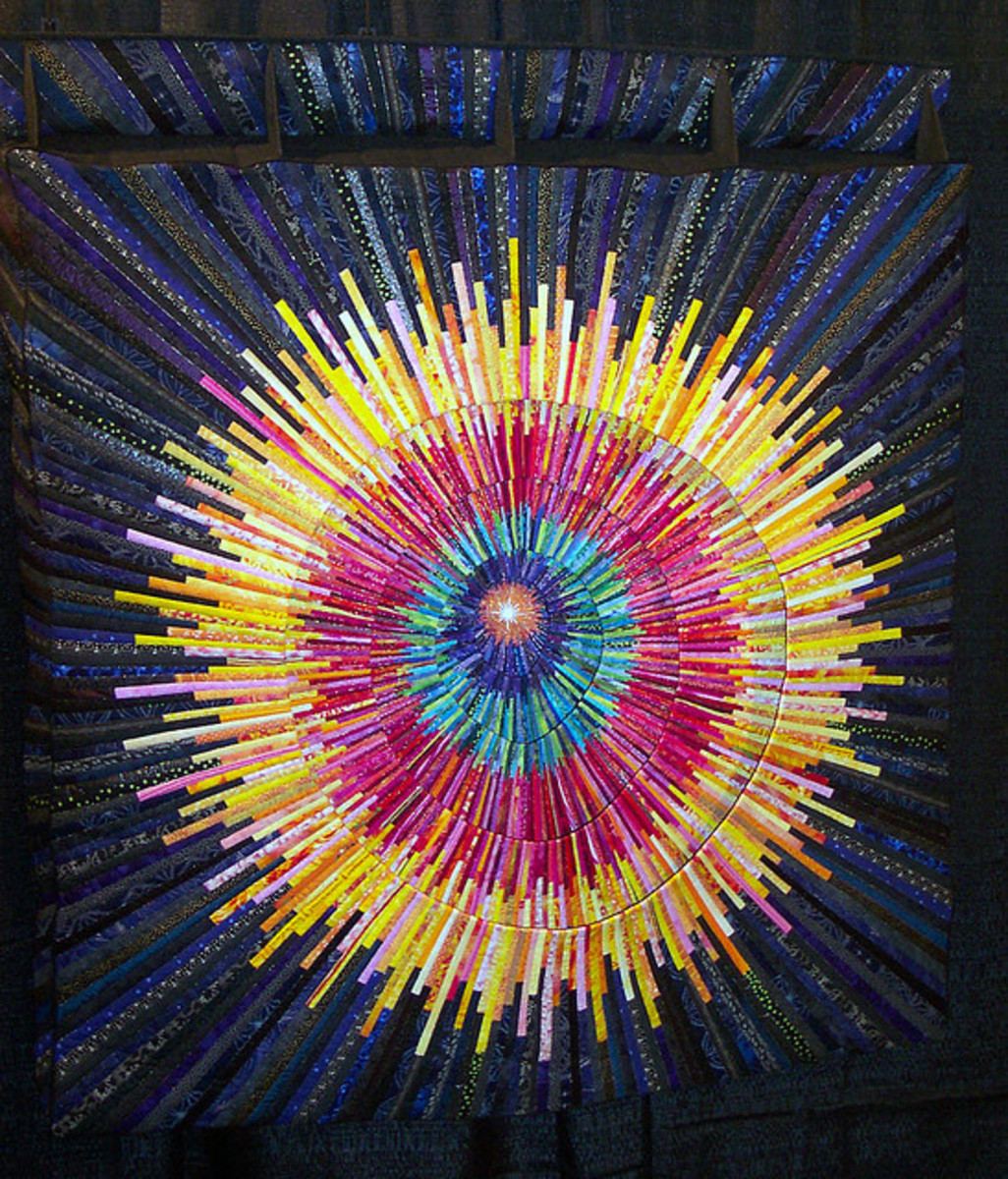 This is not her quilt but is an example of a strip pieced quilt.