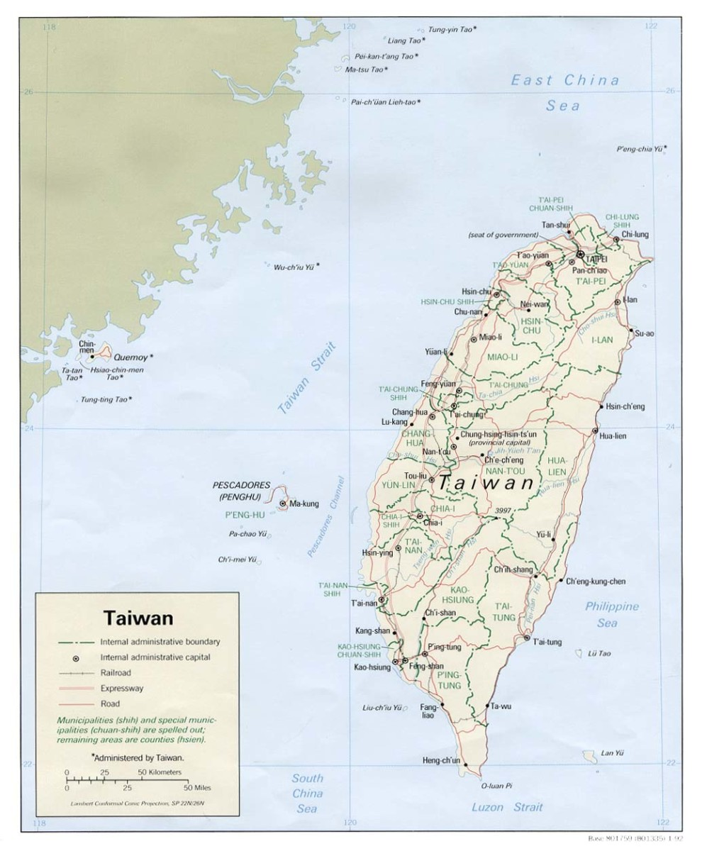 Political Map of Taiwan 1992