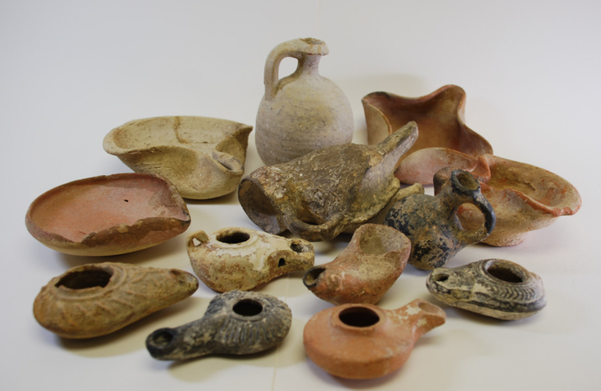 Archeological finds of ancient earthenware pottery.