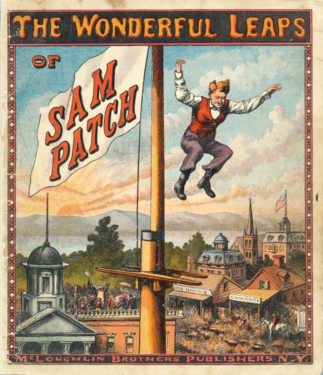 Cover illustration for The Wonderful Leaps of Sam Patch, published by McLaughlin Brothers, 1870.