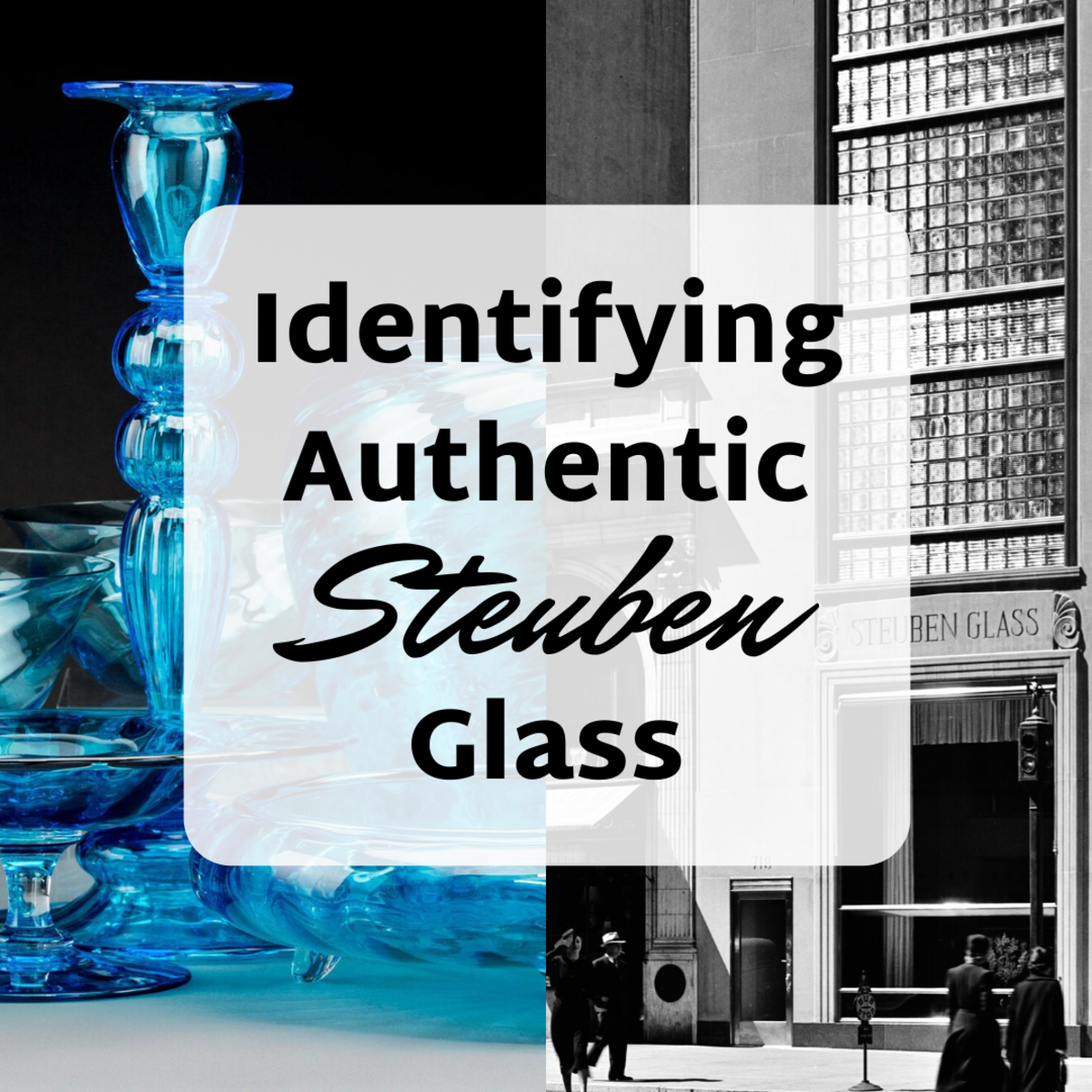 Learn how to distinguish authentic Steuben glass from fakes and forgeries. (On the left: Celeste Blue table service from 1920. On the right: The Steuben Glass building on 5th Avenue, September 1937.)