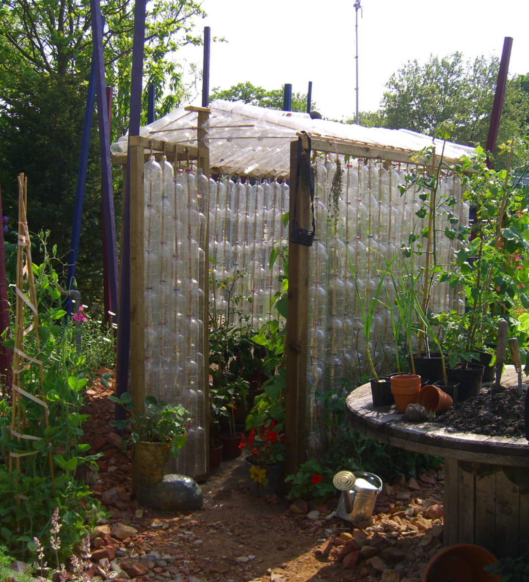 DIY greenhouse made of recycled plastic soda bottles.