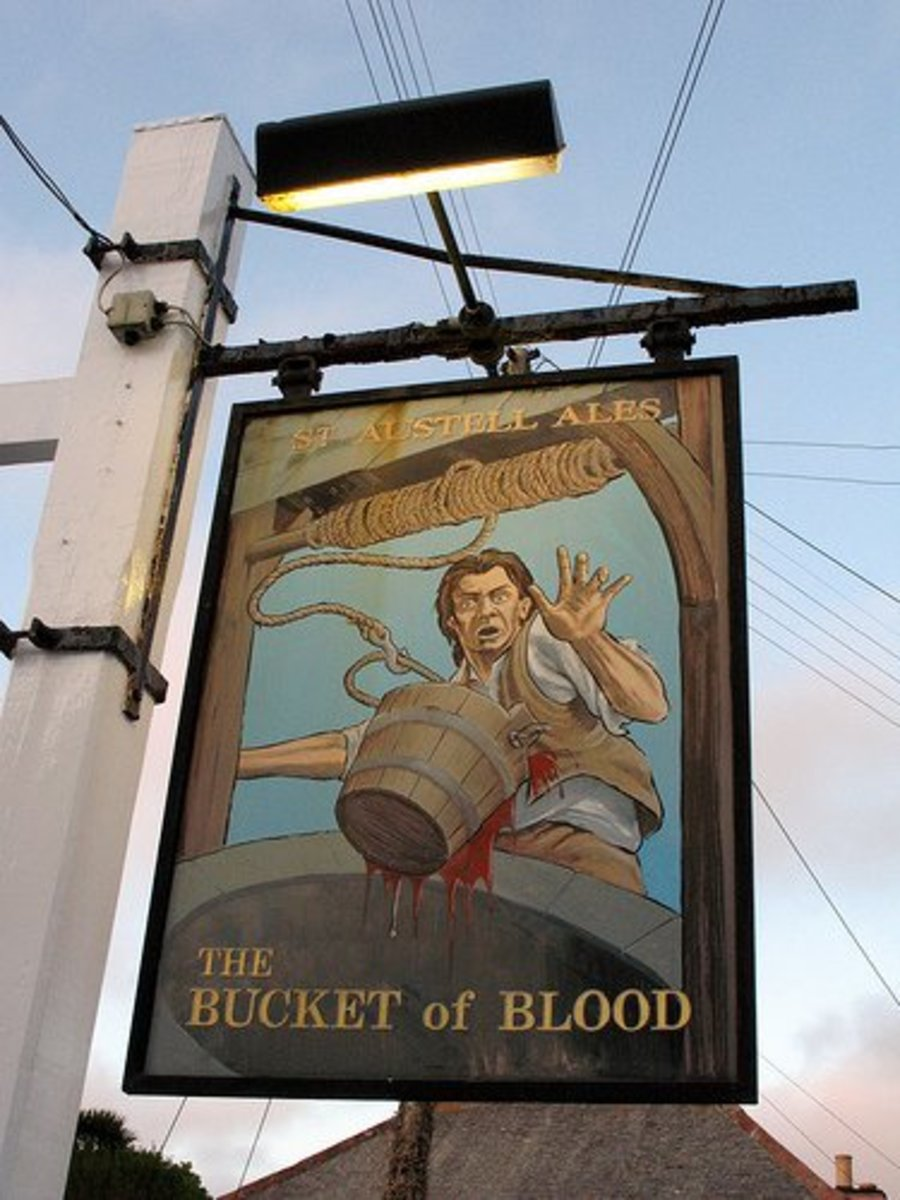 The Bucket of Blood Pub Sign at Phillack