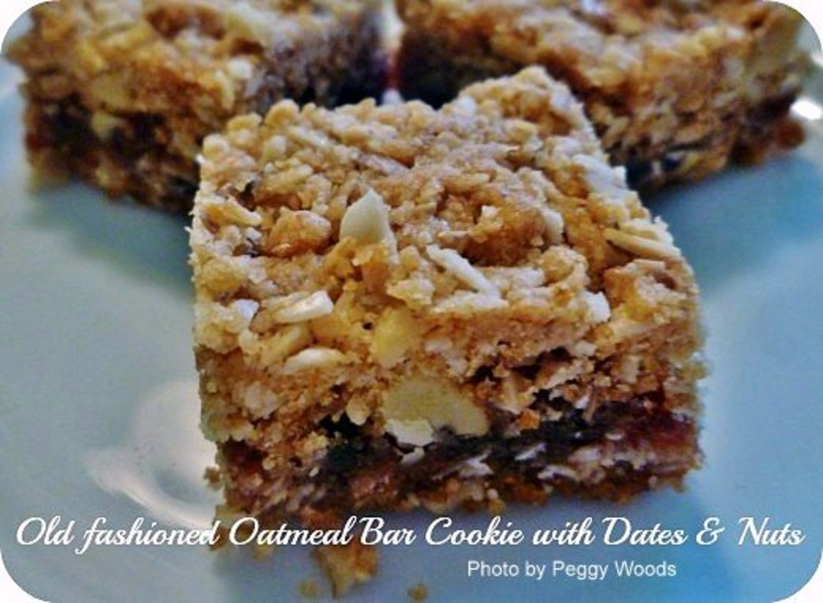 Oatmeal Bar Cookie Recipe with Dates and Nuts: Photos Plus Family Memories