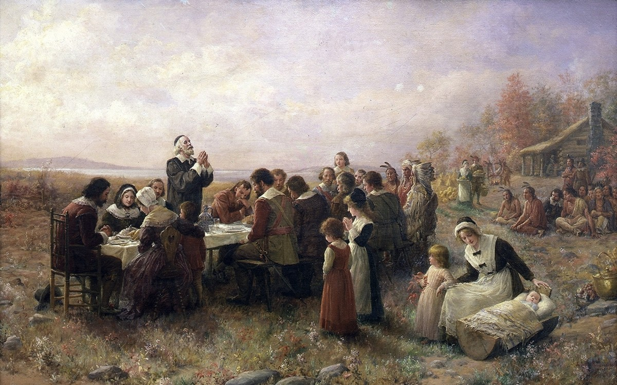 The Pilgrims and Wampanoag give thanks for the abundance of food the earth provides.