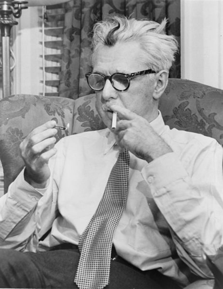 "James Thurber. the author of the short story ""The Catbird Seat."""