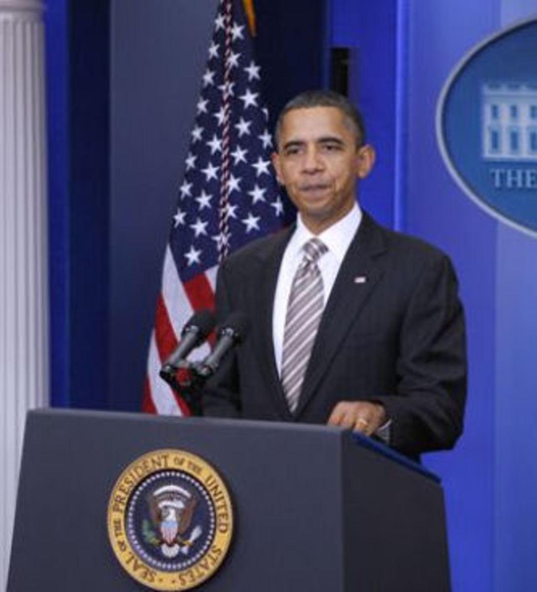 Obama GM bailout press conference *White House press photo