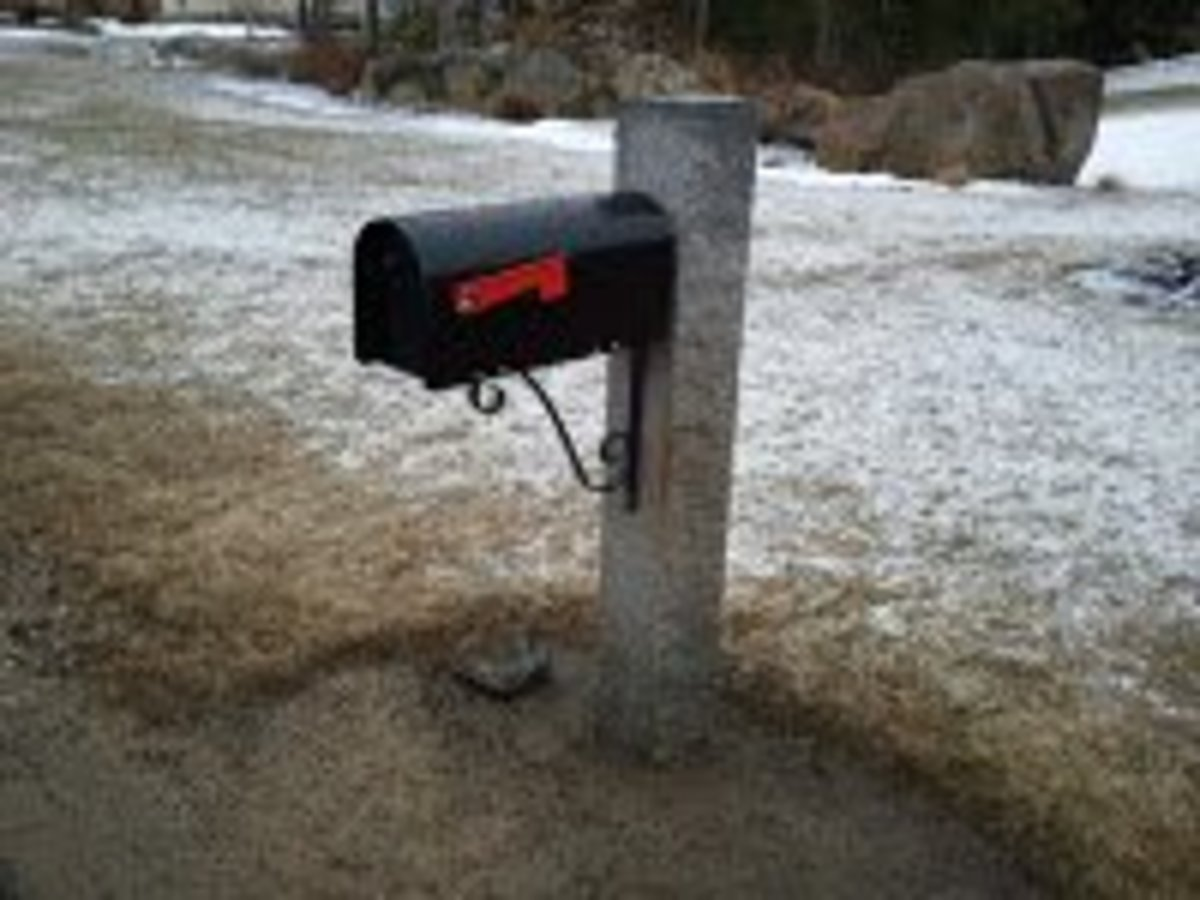 Notice the rock at the bottom of the mailbox post. This was the second hit and it's still standing :)