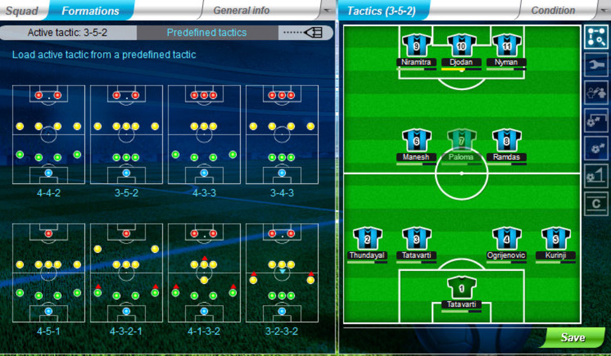 Formations and tactics in the game.