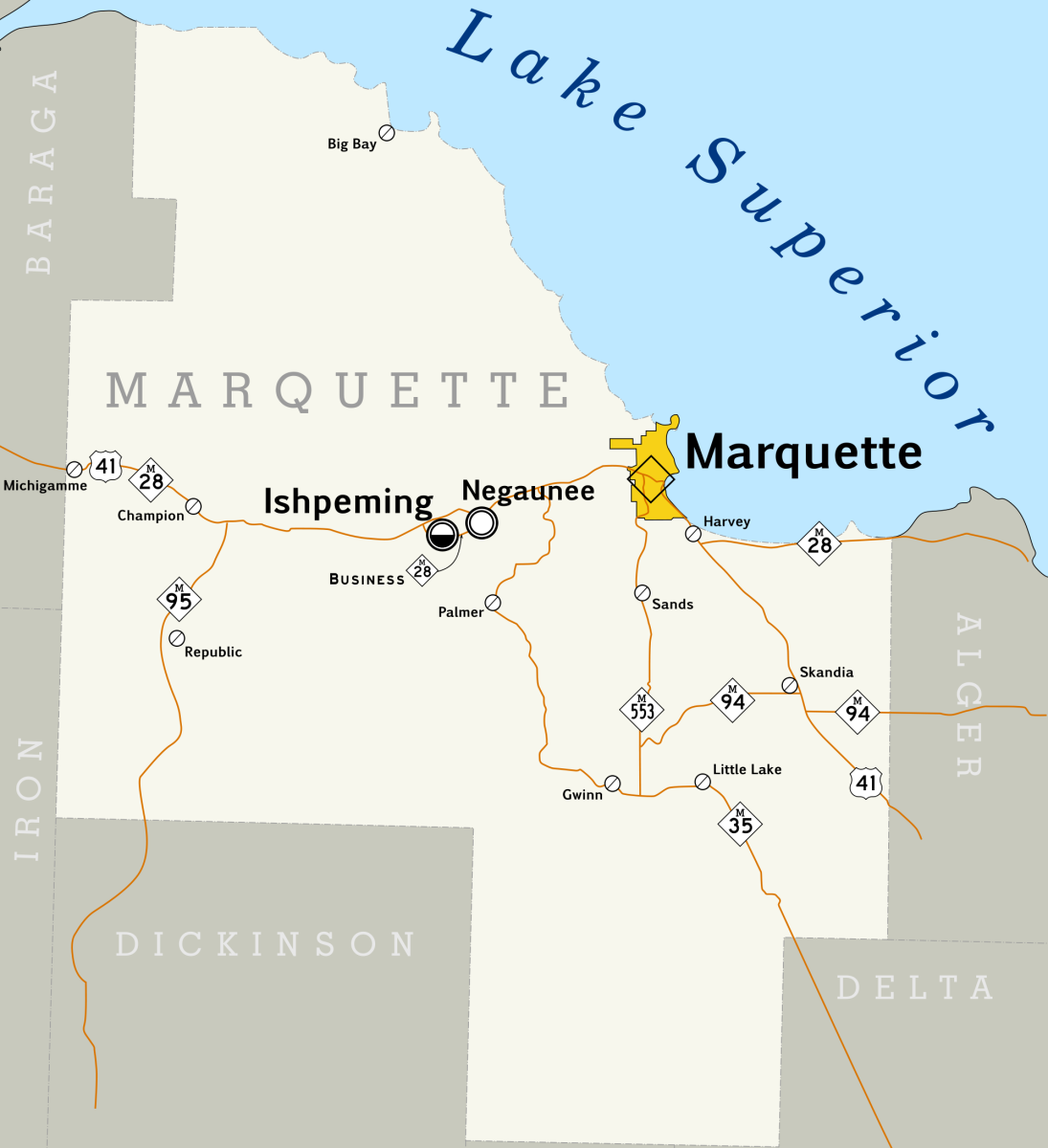 Marquette County, Michigan map