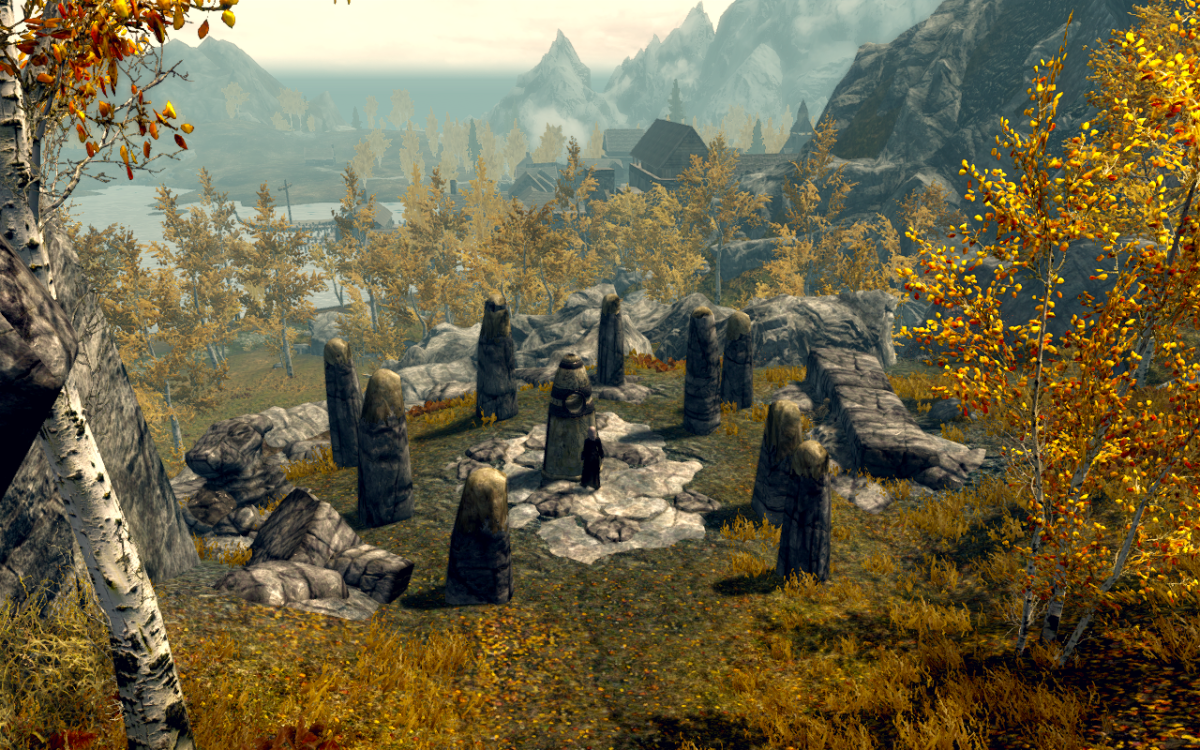 The Shadow Stone in Elder Scrolls V: Skyrim Riften can be seen in the background.