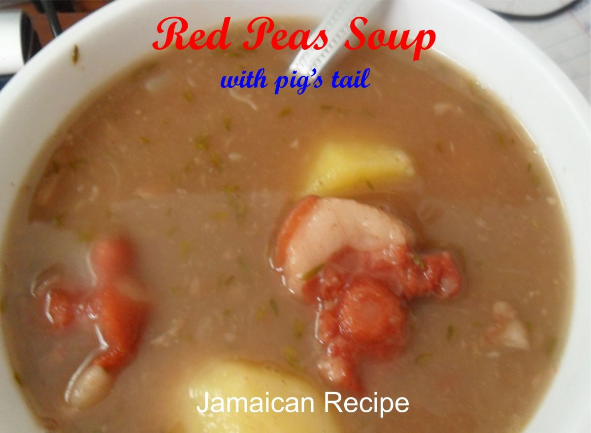 Red pea soup with pig's tail.
