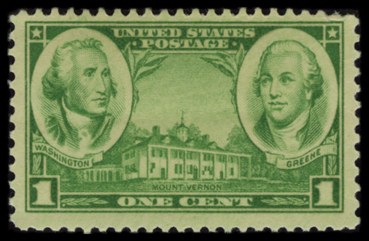 1936 One-Cent Army Stamp: George Washington, Nathanael Greene, and Mount Vernon