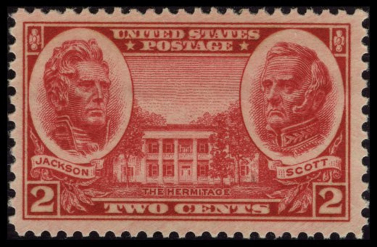 1937 Two-Cent Army Stamp: Andrew Jackson, Winfield Scott, and The Hermitage