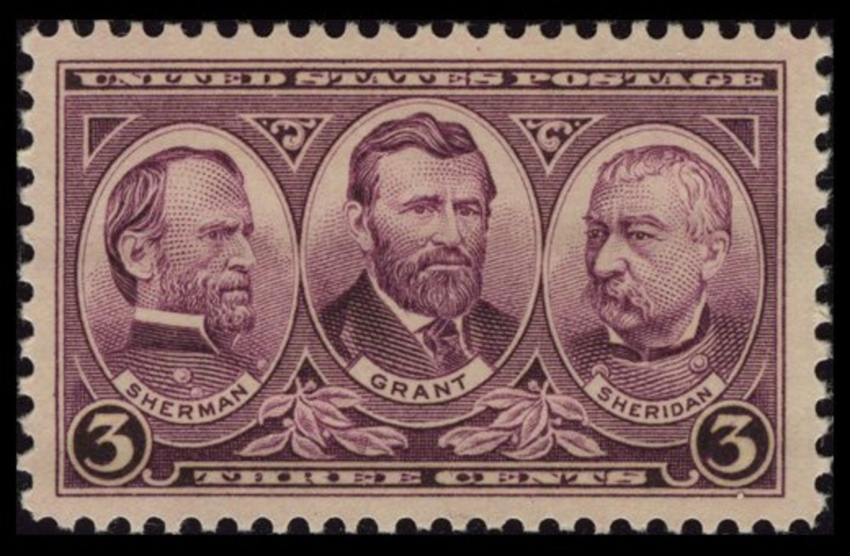 1937 Three-Cent Army Stamp: William Tecumseh Sherman, Ulysses S. Grant, and Philip Sheridan