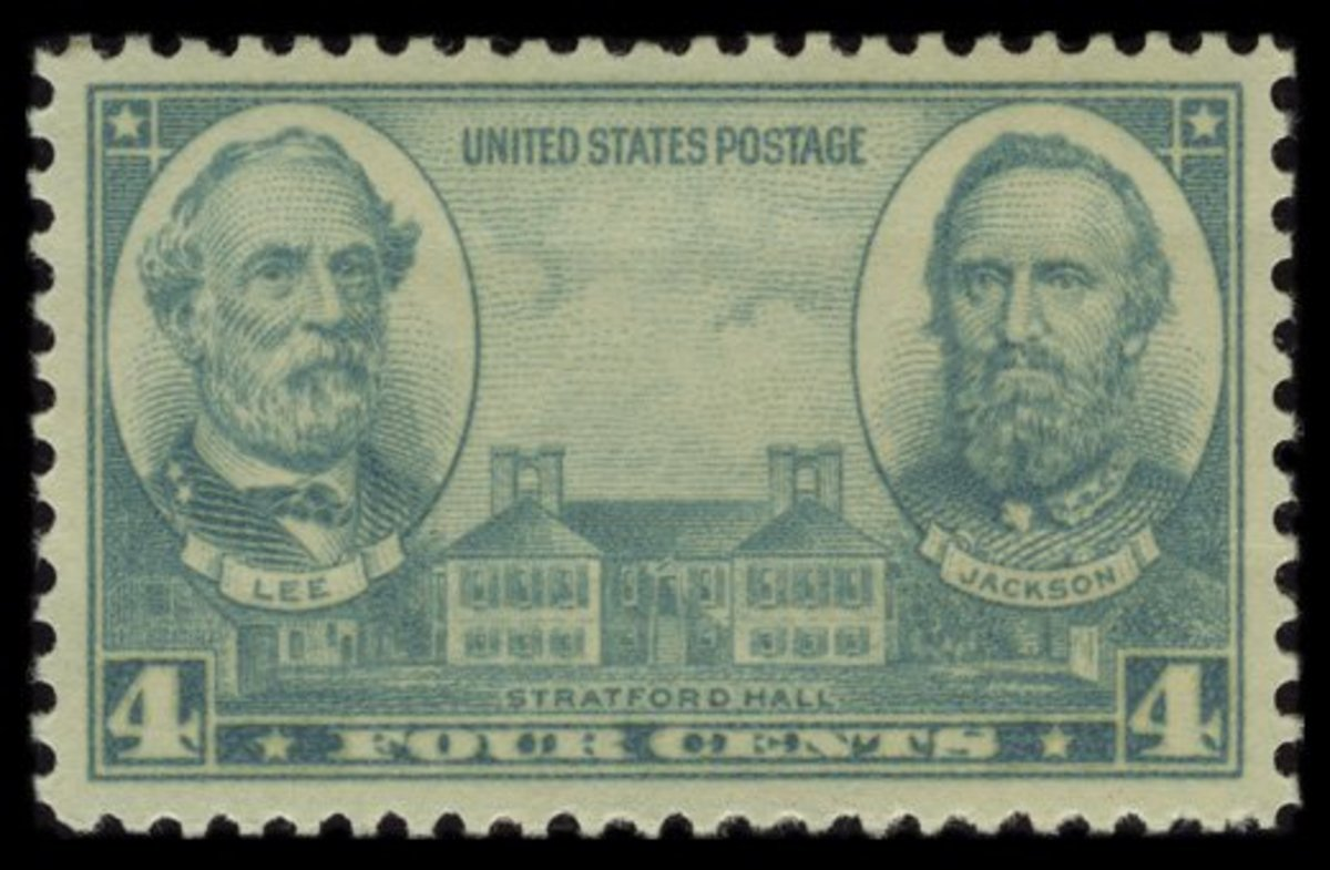 "1937 Four-Cent Army Stamp: Robert E. Lee, Thomas ""Stonewall"" Jackson, and Stratford Hall"