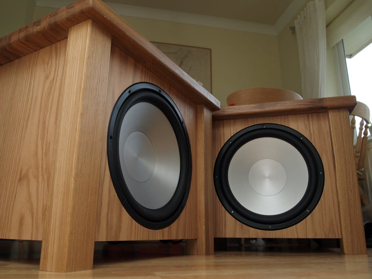 A pair of nicely finished DIY subwoofers.