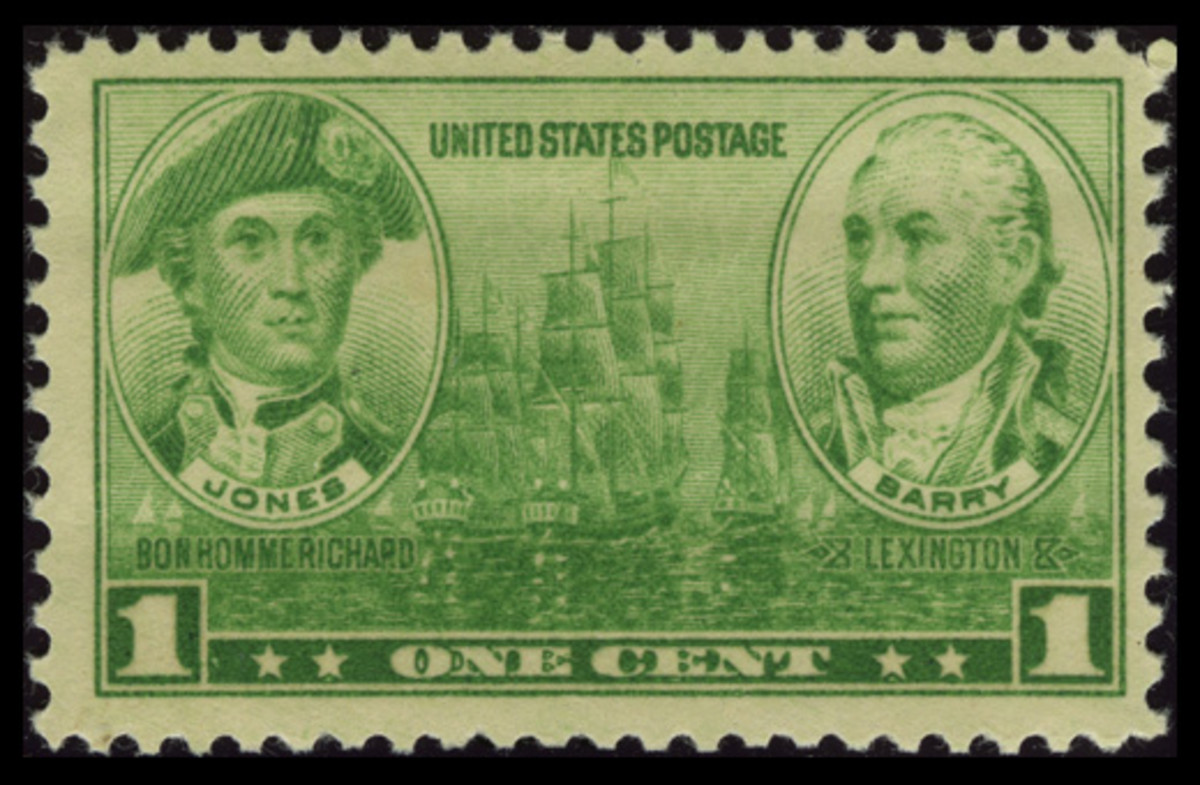 1936 One-Cent Navy Stamp: John Paul Jones and John Barry