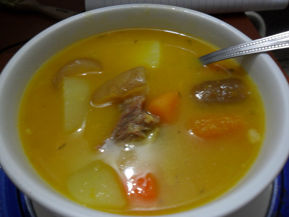 The completed cow skin soup.