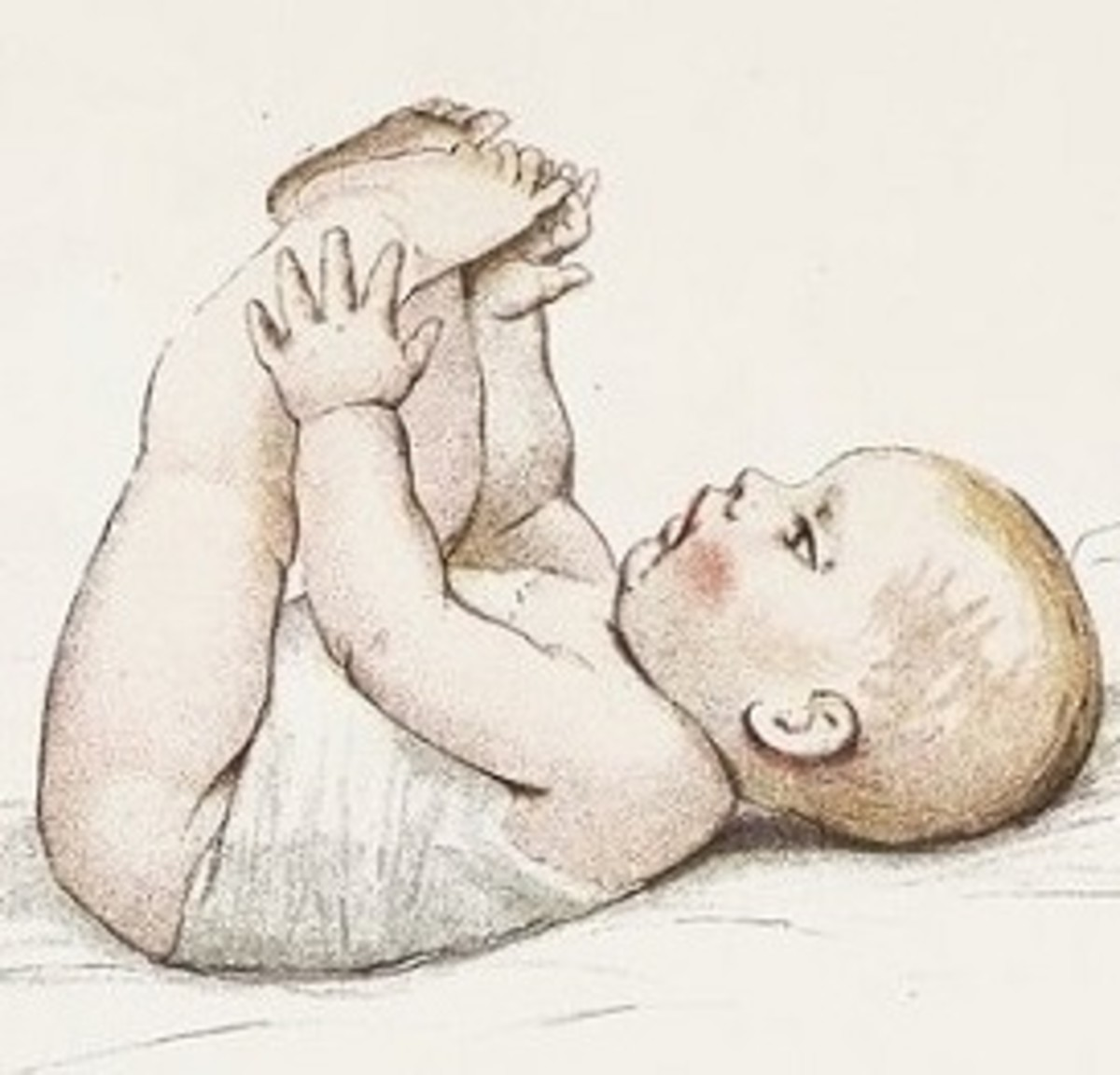 A baby aware, here and now, of her toes