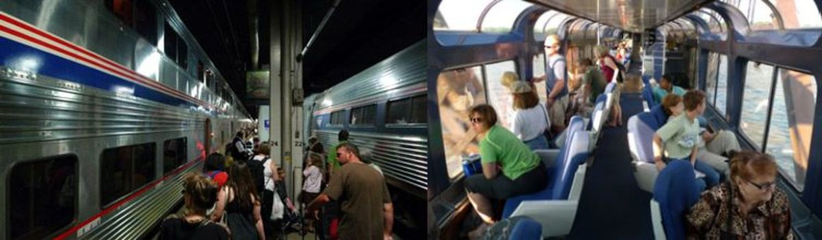 Passengers board California Zephyr at Chicago Union Station (left); passengers enjoy spectacular view of Mississippi River from Sightseer-Lounge car (right).